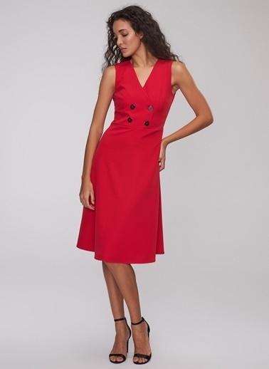 People By Fabrika Kruvaze Elbise Kırmızı